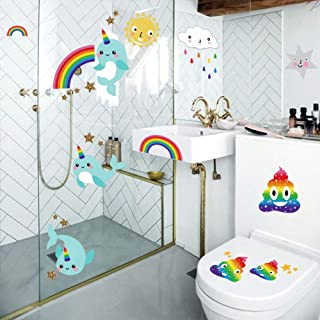 decalmile Rainbow Poop Narwhal Wall Stickers Funny Wall Decals Kids Room Bathroom Wall Decor