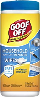 Goof Off FG685 Heavy Duty Spot Remover and Degreaser Wipes, 30 Wipes Per Container