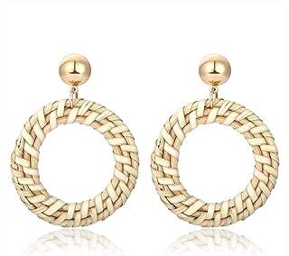 MOLOCH Rattan Earrings Handmade Lightweight Straw Wicker Braid Woven Drop Dangle Earrings Acrylic Resin Disc Statement Stud Earring