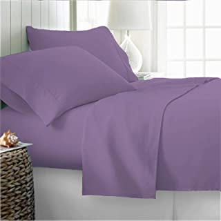 100% Organic Cotton Bed Sheets Twin XL - Organic Lilac Sheets - 300 Thread Count Organic Cotton - Organic Cotton Percale S...
