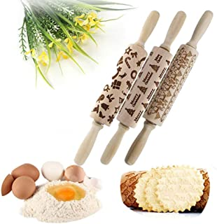 Christmas Rolling Pin Kitchen Tool, Wooden Rolling Pins Engraved Embossing Rolling Pin with Christmas Symbols for Baking Cookies(ABC)