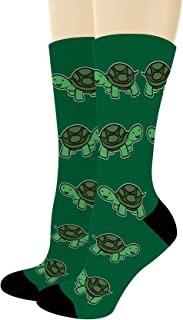 Unisex Novelty Socks Happy Turtle Socks Turtle Themed Gifts for Turtle Lovers Novelty Crew Socks