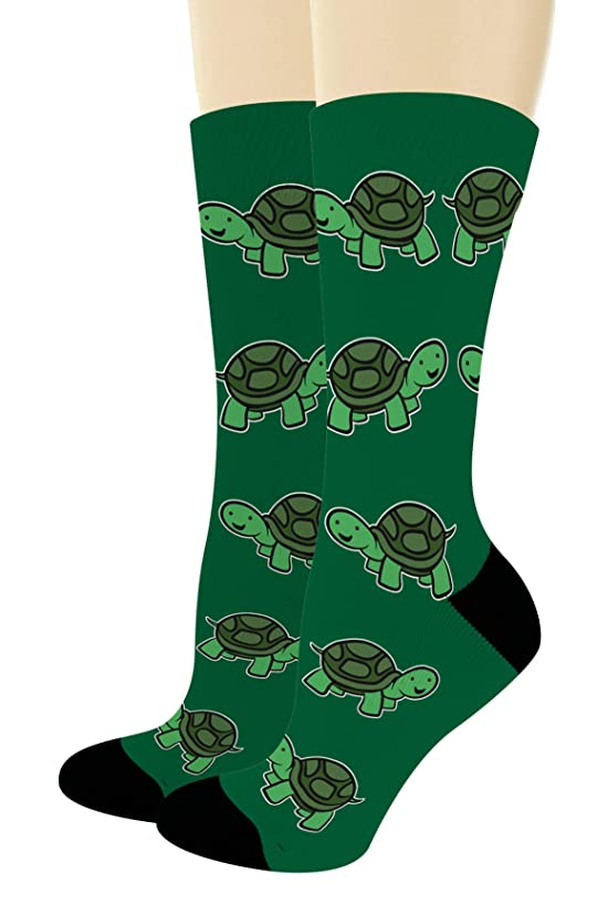 Unisex Novelty Socks Happy Turtle Socks Turtle Themed Gifts for Turtle Lovers Novelty Crew Socks