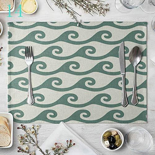 AmDxD Juego de 2 manteles individuales de lino de algodón, de 30,4 x 40,6 cm Brevity es hermosa. Decoración de casa resistente al calor, antideslizante, color verde y blanco