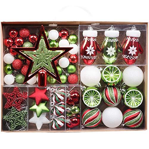 Valery Madelyn Weihnachtskugeln 70tlg 3-17cm Baumschmuck Plastik Christbaumkugeln mit Weihnachtsbaumspitze und Aufhänger Weihnachtsdeko Klassische Serie Thema Rot Grün Weiß MEHRWEG Verpackung