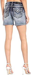 Cuffed Mid-Rise Shorts with Thick Border Stitch in Dark Blue