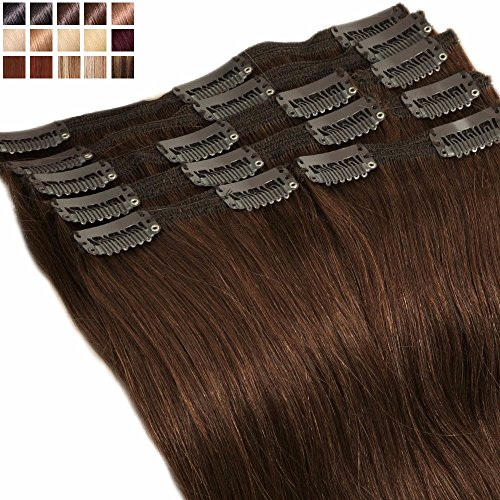 Extension a Clip Cheveux Naturel MAXI VOLUME Rajout 8 Bandes - Double Weft Clip in Remy Human Hair Extensions (#04 Marron chocolat, 25cm-110g)