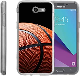 TurtleArmor   Compatible with Samsung Galaxy J3 Emerge Case   J3 (2017) [Flexible Armor] Slim Fit Flexible TPU Case Soft Bumper Cover Sports and Games - Basketball Seams