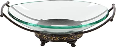 Deco 79 Glass Metal Bowl, 17 by 5-Inch