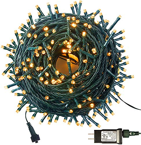 MZD8391 105FT 300LEDs Christmas Lights Outdoor Indoor String Lights 8 Modes Memory Function Warm White for Christmas Tree Party Decoration, 100% UL Listed (4 Sets CONNECTABLE) (Warm White 300LED)