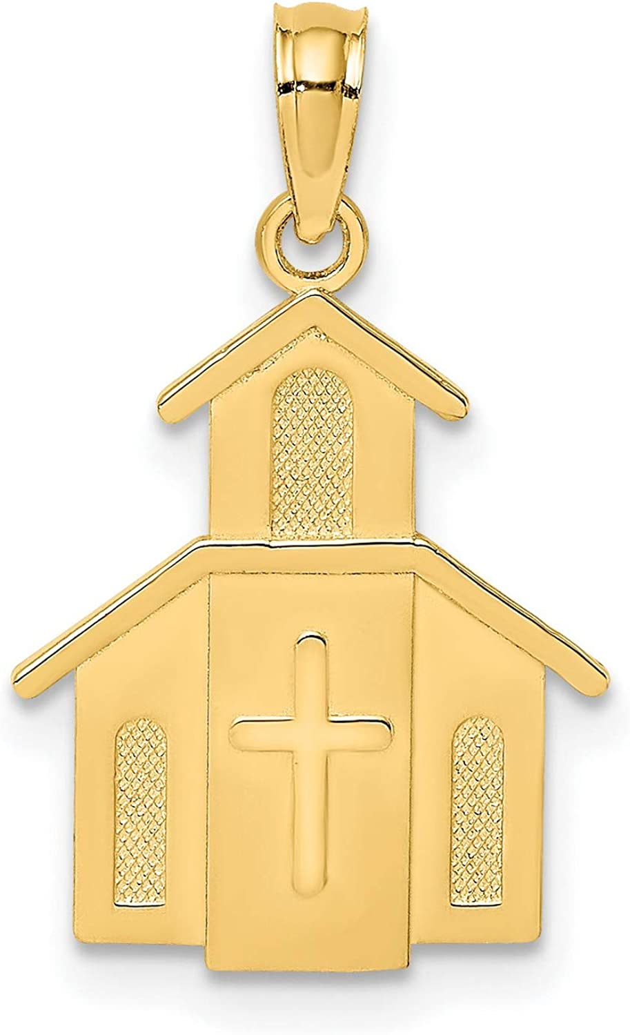 Church Cross On Door Charm favorite Real Gold 14k San Francisco Mall Yellow In