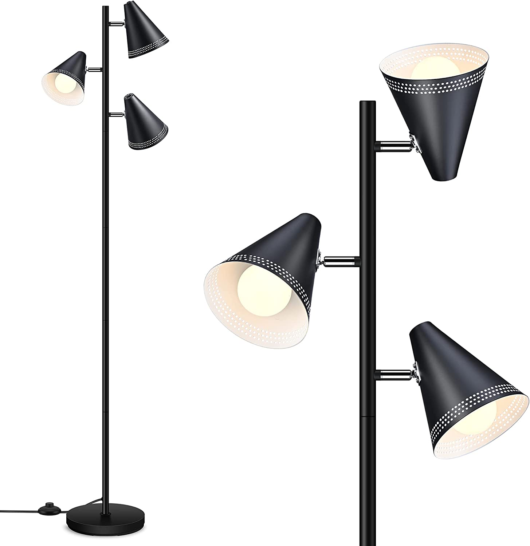 Farmhouse 引き出物 Floor Lamp Standing 3pcs Bulbs Tree LED Floo 9W 注目ブランド