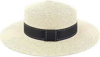 Beach Sun Hat Summer Women Straw Beach Sun Visor Flat Top Hat New Women Travel Holiday Solid Color Hat (Color : Light Khaki, Size : 56-58CM)
