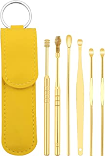 Ear Pick Earwax Removal Kit, Ear Cleansing Tool Set, Ear Curette Ear Wax Remover Tool with a Portable Bag (6PCS, Yellow)