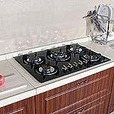 WINDMAX 30' Fashion Black Tempered Glass Built-in Kitchen 5 Burner CookTop Gas Hob