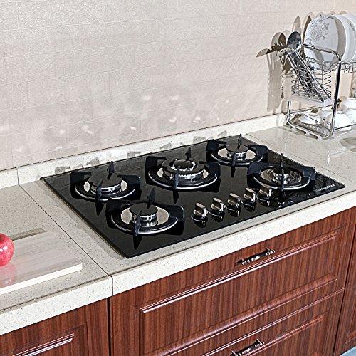 "!! BEST KITCHEN !! 30"" Fashion Black Tempered Glass Built-in Kitchen 5 Burner Gas Hob CookTop"