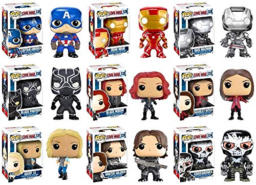 Pop! Marvel: Captain America: Civil War Captain America, Iron Man, Black Widow, Scarlet Witch, Black Panther, Winter Soldier, War Machine, Agent 13 and Crossbones Vinyl Figures! Set of 9 image