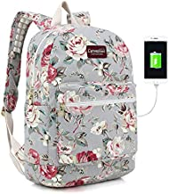 Canvaslove Rose Blue Canvas Waterproof Laptop Backpack with Massage Cushion Straps and USB Charging Port for Laptop up to 15 inch Men Women Student Outdoor Travel Backpack