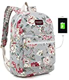 Canvaslove Rose Blue Canvas Waterproof laptop backpack with Massage Cushion...