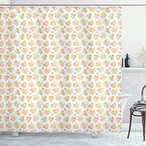 ABAKUHAUS Bruiloft Douchegordijn, Corsage lenteboeketten, stoffen badkamerdecoratieset met haakjes, 175 x 180 cm, Blush Salmon