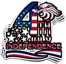 Hanabi 3 Pcs Stickers Independence Day for 4Th of July 2017 4 × 3 Inch Vinyl Die-Cut Decals for Laptop Window