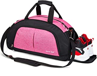Sports Gym Bag with Wet Pocket for Men and Women Travel Duffel Bag with Shoes Compartment (Pink)
