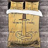 QWAS Juego de ropa de cama de El Señor Der Rings, suave, cálida, 1 funda nórdica y 2 fundas de almohada (4,135 x 200 cm + 80 x 80 cm x 2)
