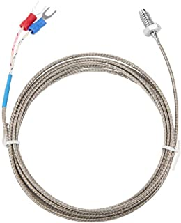 Cable del sensor de temperatura, M6 BSW Sonda de medición de la temperatura de la rosca de tornillo Tipo K Sensor de termopar con cable de 1-5 metros(2M)
