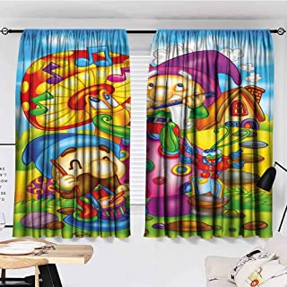 SONGDAYONE Blackout Curtain Kids Cartoon Style Singing Elves with Mushroom Playing Flute Musical Cheerful Illustration Room Darkened Multicolor W55 xL45