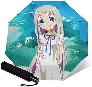 那花 折叠伞 一键自动开合【最新版&2层构造】耐强风 超防水 210t高强度玻璃纤维 防紫外线 隔热 结实 带伞套