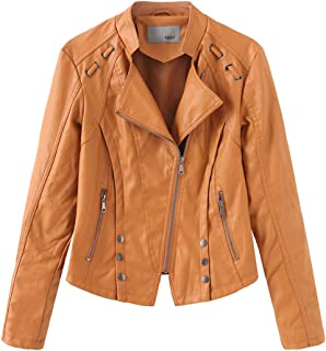 Women's Faux Leather Motorcycle Jacket, Women's Imitation Leather Casual Jacket, Spring and Autumn Winter S-XL,Yellow,M