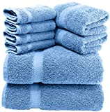 White Classic Luxury Green Bath Towel Set - Combed Cotton Hotel Quality Absorbent 8 Piece Towels   2 Bath Towels   2 Hand Towels   4 Washcloths [Worth $72.95] 8 Pack   Light Blue