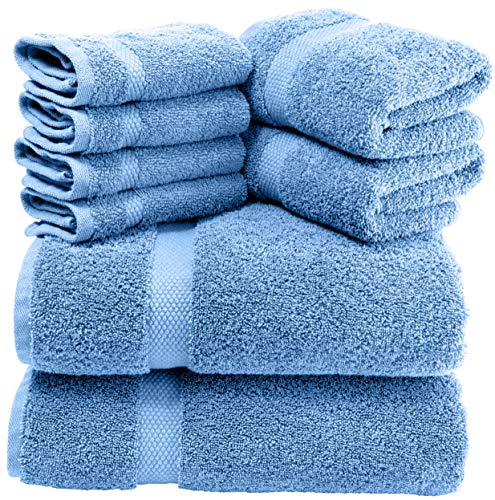 White Classic Luxury Green Bath Towel Set - Combed Cotton Hotel Quality Absorbent 8 Piece Towels | 2 Bath Towels | 2 Hand Towels | 4 Washcloths [Worth $72.95] 8 Pack | Light Blue