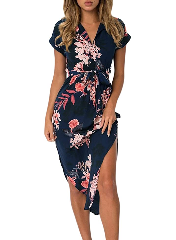 Dearlove Women's Wrap V Neck Spaghetti Strap Floral Split Beach Casual Dress ugi537608317942
