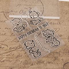 Dchaochao Bear Rubber Perfectly Clear Stamp,Photo Embossing Album Decorative/Card Making,Transparent Silicone Stamp Cling Seal DIY Craft Art #3