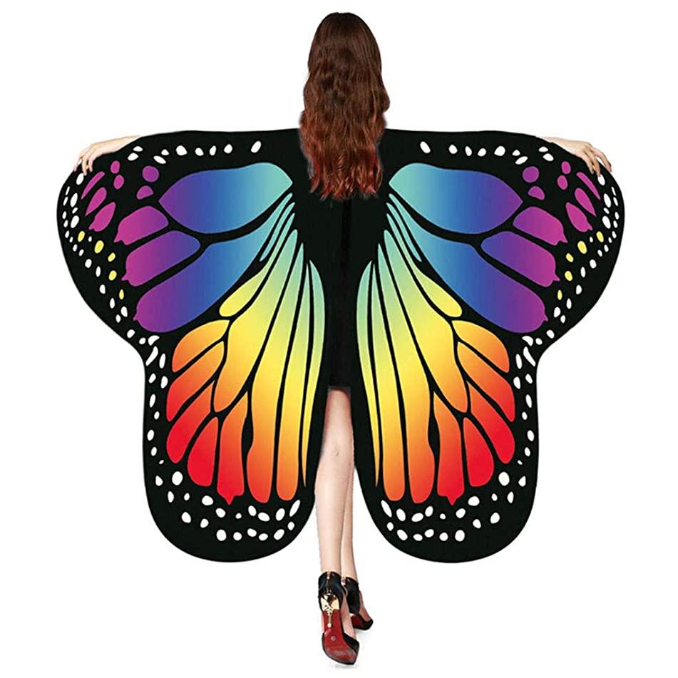 QingFan Women Butterfly Wings Shawl Scarves Ladies Nymph Pixie Poncho Costume Accessory