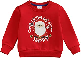 Infant Toddler Unisex Christmas Sweatshirts Long Sleeve Letters Reindeer Santa Claus Print Round Neck Shirt Pullover Tops ...
