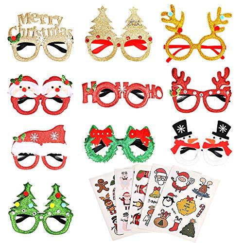 Faburo 10 Stück Weihnachten Brillen Weihnachtsbaum Brillenrahmen Brillengestell Geweih mit 5 Weihnachtlichen Aufklebern zum Weihnachten Party für Erwachsene und Kinder