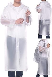 Aoymay Portable EVA Rain Ponchos for Women Men Unisex Reusable Hooded Rain Coat Jacket