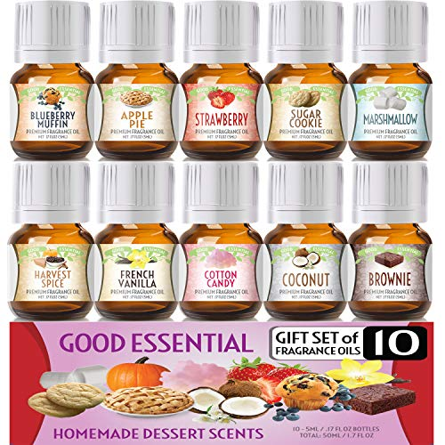Homemade Desserts Good Essential Fragrance Oil Set (Pack of 10) 5ml - French Vanilla, Cotton Candy, Blueberry Muffin, Strawberry, Coconut, Apple Pie, Marshmallow, Harvest Spice, Brownie, Sugar Cookie