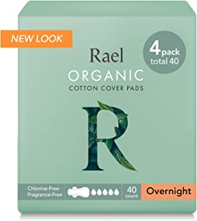 Sponsored Ad - Rael 100% Organic Cotton Menstrual Overnight Pads - 4Pack/40 Total - Thin Natural Sanitary Napkins with Win...