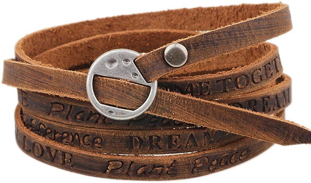 4EAELove Genuine Leather Bracelet Braided Wrap Bangle Vintage 4-Strand Stainless Steel Lobster Clasp Durable Handmade