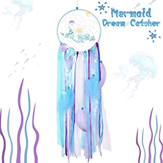AerWo Mermaid Dream Catchers for Kids, Handmade Blue Mermaid Dream Catcher for Girls Bedroom Wall Hanging Decorations Under The Sea Mermaid Birthday Party Supplies