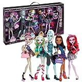 Mattel Year 2013 Monster High 'Dance Class' Series 5 Pack 11 Inch Tall Doll Set - Rochelle Goyle, Gillington 'Gil' Weber, Lagoona Blue, Robecca Steam and Operetta Plus 4 Purse and 1 Duffel Bag