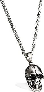 Punk Rock Necklace Men Charm Biker Motorcycle Style Black Stainless Steel Skull Skeleton Pendants Necklaces Jewelry