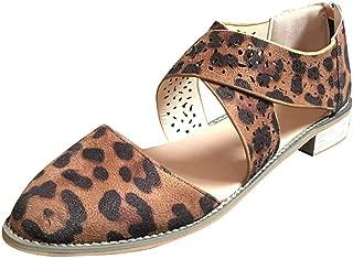 Women's Leopard Open Toe Sandals AmyDong Ankle Cross Strap High Heels Back Zipper Summer Shoes