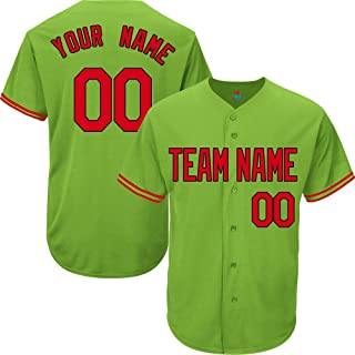 Light Green Custom Baseball Jersey for Men Women Youth Replica Embroidered Team Name & Numbers S-5XL Red Black