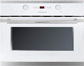 Küppersbusch Design Einbau-Mikrowelle EMWG6260.0W1, 45cm, Weiß/Edelstahl, 3 Funktionen inkl. Mikrowelle  Grill, Versenkbare Knebel, 35 Liter Edelstahl-Garraum