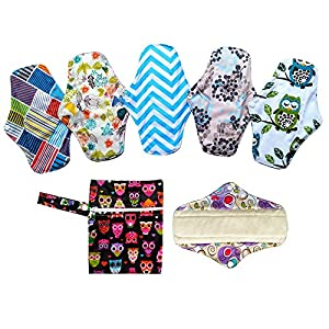 6PCS 10 Inch Bamboo Menstrual Pads Reusable Washable +1 Wet Bag