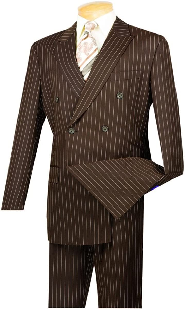 VINCI New product type Don't miss the campaign Men's Wool Feel 6 Button Stripe Gangster Breasted S Double